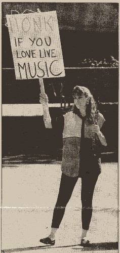 Old History: From the Mercury News, September 9, 1992 The caption read: Patricia Mitchell toots her horn to get some honks. Not terribly creative ....